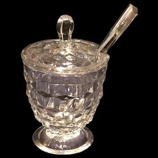 Fostoria Crystal American Covered Mustard with Glass Spoon