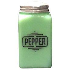 """McKee Jadite Square """"Pepper"""" Box Shaker"""