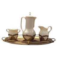 Farber Brothers Mosaic Gold Handled Lenox Chocolate Server (Pot) with Cream, Sugar & Tray