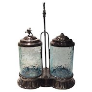 Northwood Light Blue Opalescent Daisy & Fern Double Pickle Caster