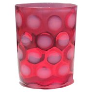 Fenton made for L.G. Wright Cranberry Opalescent Dot Optic Tumbler