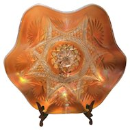 Dugan Peach Opalescent Carnival Glass Ski Star Bowl with Compass on Exterior