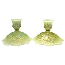 Fenton Topaz Opalescent Lily of the Valley (No. 8475) Candlesticks (2)