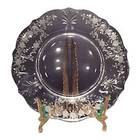 """Fostoria Crystal Meadow Rose Etched 9-1/2"""" Baroque (#2496) Dinner Plate"""