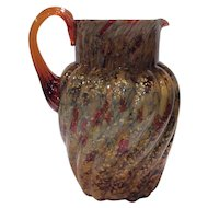 """Possibly Hobbs Brockunier - Indian Red (Red-Amber) cased over White Opal Interior """"Spangled Glass"""" Pitcher with Gold Mica"""