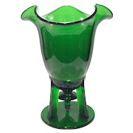 New Martinsville Green Moondrops Rocket-Footed  Vase with Ruffled Rim