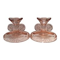 Fostoria Pink June etched (No. 279) Scroll Handled Candlesticks (2)