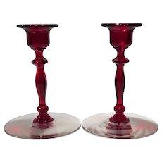 Cambridge Crystal & Carmen (Red) No. 1192 Candlesticks (2)