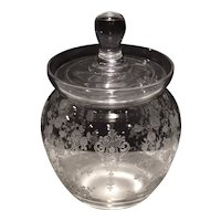 Cambridge Crystal Etched Rose Point No. 147 - 8 Ounce Marmalade