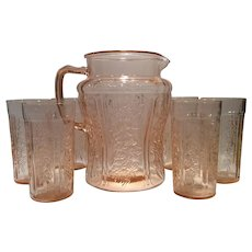 Federal Glass Pink Sharon or Cabbage Rose Jug & 6 Flat Tumblers (7 Piece Set)