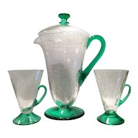 Morgantown 2-Tone Arctic Crystal Crackle with Venetian Green Handled & Footed Jug, Lid & 2 Handled Tumblers