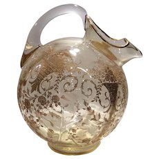 Cambridge Gold Krystol Gold-Etched Portia #3400/38 Ball Jug with Ice Lip