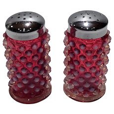 Fenton Cranberry Opalescent Hobnail Salt & Pepper Shakers