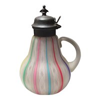 Lutz-Type Art Glass Ribbon Syrup with Metal Lid