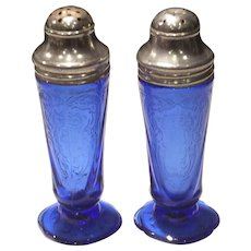 Hazel Atlas Cobalt Blue Royal Lace Salt & Pepper Shakers (2)