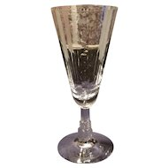 Libbey-Nash Crystal Moonbeam Cutting on Skyscraper No. K13-1037 Stemline Goblet