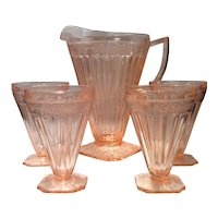 Jeannette Pink Adam Pattern Glass Pitcher & 4 Footed Tumblers