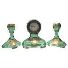 Fostoria Green St. Alexis Clock & 2 Matching Candlesticks with Gold Filled Floral & Scroll Etch