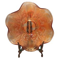 "Fenton Marigold/Golden Carnival Glass Thistle Pattern 9"" Bowl"