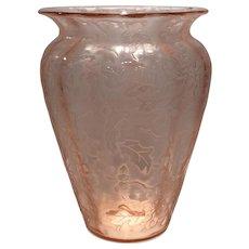 """Fostoria Rose (Pink) Oak Leaf #4105 - 8"""" Shouldered Vase"""