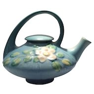 Roseville Blue Background Color White Rose Pattern Covered Teapot