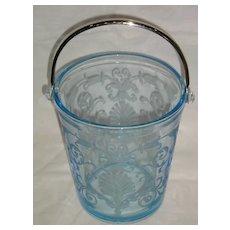 Fostoria Versailles Azure Blue Ice Bucket with Handle