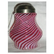 Fenton Cranberry Opalescent Spiral Optic Sugar Shaker