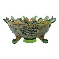 Northwood Green Carnival Glass Grape & Cable Footed Orange Bowl