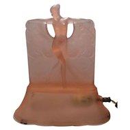McKee Rose Pink Satin Danse De Lumiere Art Glass Boudoir Lamp