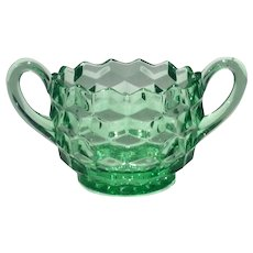 Fostoria Green American Pattern Handled Sugar