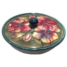 Moorcroft Green Hibiscus Decorated Covered Candy with Lid