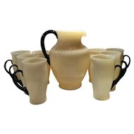 Steuben Ivory & Mirror Black Pattern No. 7218 Pitcher & 8 Matching Handled Tumblers