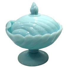 Cambridge Windsor Blue Sea Shell Line Covered Candy (2 Piece)