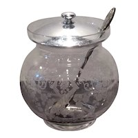 Cambridge Crystal Diane Etched Marmalade with Metal Spoon & Lid