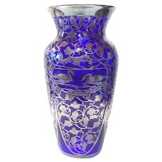 "Cambridge Royal Cobalt Blue No. 1242 (10-3/4"") Vase with Sterling Overlay"