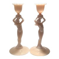 """Cambridge Crown Tuscan #3011 Statuesque Nude 8.5"""" Pair of Candlesticks"""