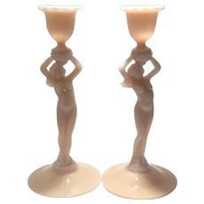 "Cambridge Crown Tuscan #3011 Statuesque Nude 8.5"" Pair of Candlesticks"
