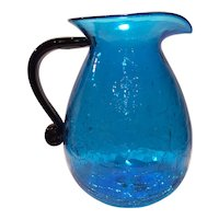 Blenko Blue/Turquoise Crackle Glass Flat Handled Jug with a Black (Flat) Handle