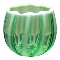 Fenton Lime Green Opalescent Ribbed Optic #1604-LO New World Pattern Open Sugar Bowl