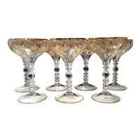 """Cambridge (7) Crystal Tally Ho #1402/100 - 6.5"""" (H) Tall Blown Champagne/Sherbet Goblets with Gold Etched Elaine"""