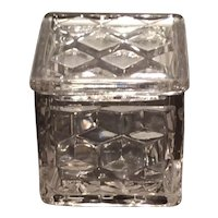 "Fostoria Crystal American Pattern #2056 - 2"" Square Pomade Box & Lid"