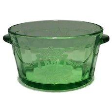 Hocking Green Cameo, Dancing Girl or Ballerina Pattern Ice Bowl