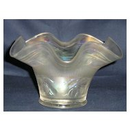 Fenton White Carnival Glass Blackberry Banded Ruffled Vase
