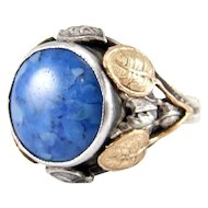 Vintage Arts & Crafts Sterling Silver Faux Lapis Lazuli Ring