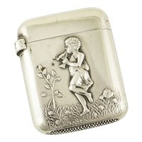 Antique Sterling Silver Match Safe Boy with Flute/Horn Motif 1898