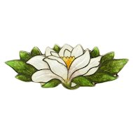 Antique Art Nouveau Enameled Sterling Flower Water Lily Pin Brooch
