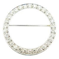 Art Deco 14K White Gold Diamond Circle Eternity Brooch Pin