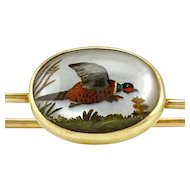 Vintage 14K Hedges Co. Reverse Carved Ring-Necked Pheasant Essex Crystal Pin Brooch