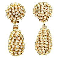 Giant Vintage Runway Rhinestone Teardrop Dangle Earrings
