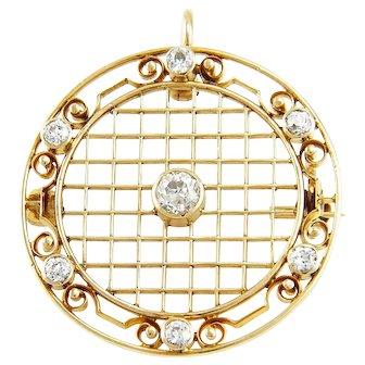 Antique 1912 Edwardian 14K Gold & Diamond Pendant Brooch